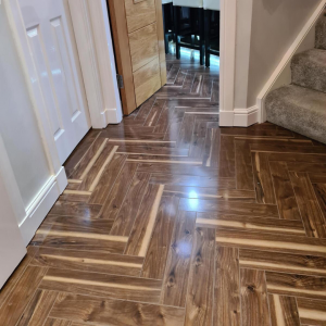 Notting Hill Walnut Herringbone Parquet Laminate Flooring (Gloss) 12mm