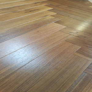 Herringbone Brushed Walnut Noce Engineered Parquet Wood Flooring 18/4mm x 600mm