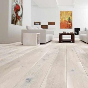 Deltana White Washed Brushed Lacquered Oak Engineered Wood Flooring 180 x 14/3mm
