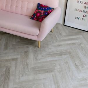 BerryAlloc Laminate Flooring Chateau Herringbone Java Light Grey 8mm x 84mm