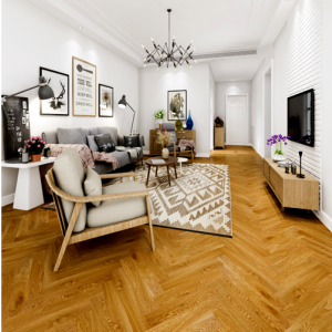 Oak Wood Natural Oak Herringbone Parquet Laminate Flooring 12mm